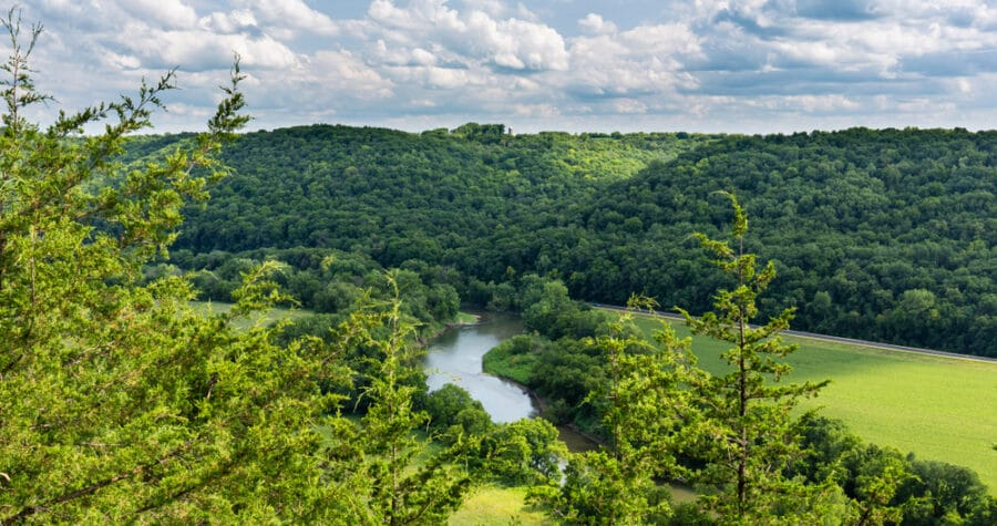 Beautiful view of the Root River near Lanesboro MN, a great place for river tubing